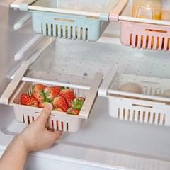 냉장고 길이조절 클립형 서랍 수납 선반 트레이-확장형