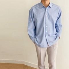 여름 남성 오버핏 카라 옥스퍼드 코튼 면 기본 셔츠남방