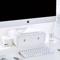 사무실 책상 미니서랍 정리함 데스크 오거나이저 모니터받침대 겸용