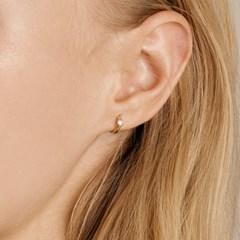 베젤 스톤 원터치 귀걸이 (14K골드) #P25