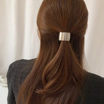 [2 color] 사각 단정한 메탈 무광 골드 실버 고무줄 머리끈