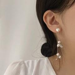 [웨딩][귀찌가능] 투웨이 진주 드롭 낙엽 웨딩 귀걸이