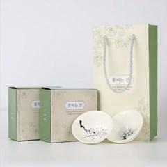 온도따라 꽃피는 벛꽃잔 매화잔 포장 종이백 선물세트