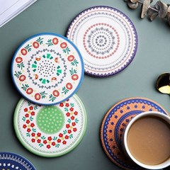 테이블 인테리어 규조토 코르크 컵받침 페이즐리 코스터 4p