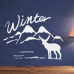 winter 설산과 사슴 겨울 인테리어 스티커