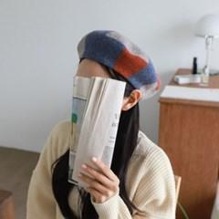 울 배색 데일리 꾸안꾸 블루 패션 베레모 모자