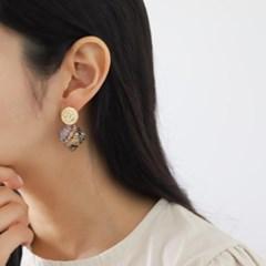 볼드 드롭 링 브라운 E1300 패션 귀걸이