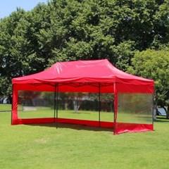 야외행사용 투명 바람막이 캐노피 천막(600x300cm) (레드)