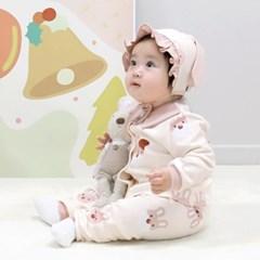 [메르베] 산타토끼 신생아 유아 내복/내의/아기실내복_겨울용