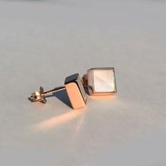 925 silver+18k rose gold 천연 자개 로즈골드 스터드 이어링