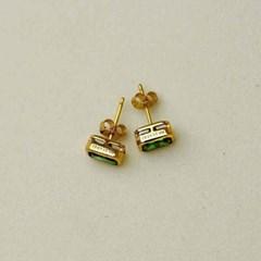 925 silver+18k gold 그린 크리스탈 골드 스터드 이어링