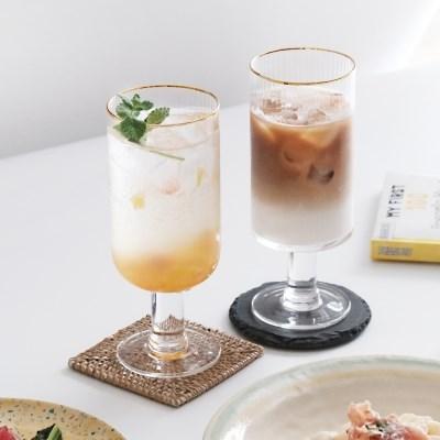 홈카페 골드림 플리츠 라인 고블렛잔 에이드 맥주잔 유리컵