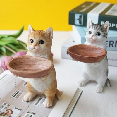바구니 두손 고양이 장식 (2colors)