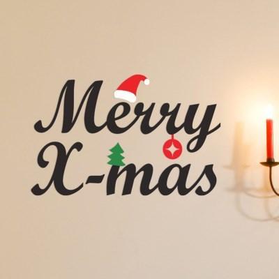 merry xmas 산타모자와 트리 크리스마스 겨울 스티커