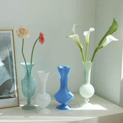 빈티지 북유럽 오팔린 화병 꽃병 4type 오브제 디자인 인테리어꽃병