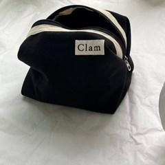 클램 라운드 파우치 _ 딥블랙 (clam round pouch _ Deep black)