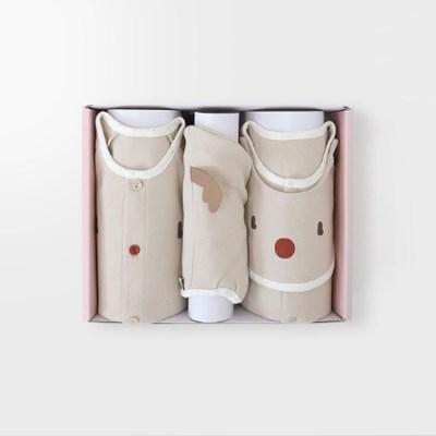 [메르베] 루돌프 아기 백일선물세트(내의+우주복+모자)_겨울용