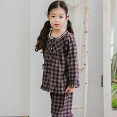 여자아이실내복 포포체크 선염 겨울 긴팔 유아파자마 순면 기모잠옷