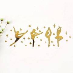 비진 발레리나 소녀 미러 벽장식 스티커