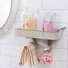 비진 심플 빗살무늬 부착식 욕실 선반