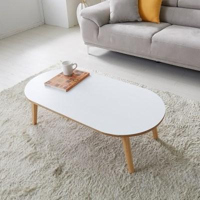 [리앳홈] 멜로 화이트 모던 타원형 HPM 원목 접이식 테이블 900/1100
