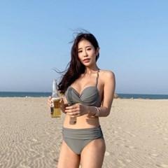 여성 비키니 수영복 하이웨스트 리본 랩 포인트 셔링