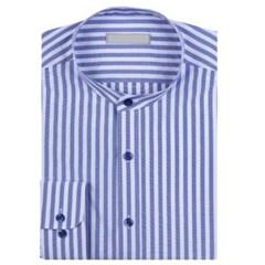 남성 긴팔 셔츠 와이셔츠 블루 스트라이프 차이나카라