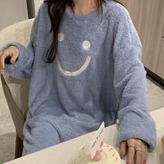 여성 홈웨어 수면 잠옷 세트 파자마 렌 스마일 원피스