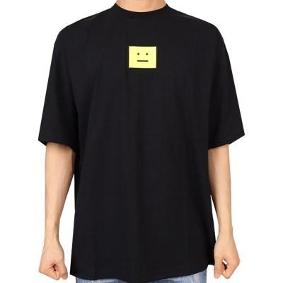 21FW 아크네 스몰 스퀘어 프린팅 티셔츠 (남성/블랙) CL0101 BLACK