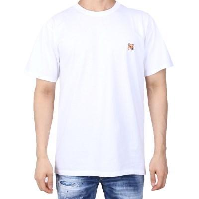 21FW 메종키츠네 폭스헤드 패치 티셔츠 (남성/화이트) AM00103KJ0008