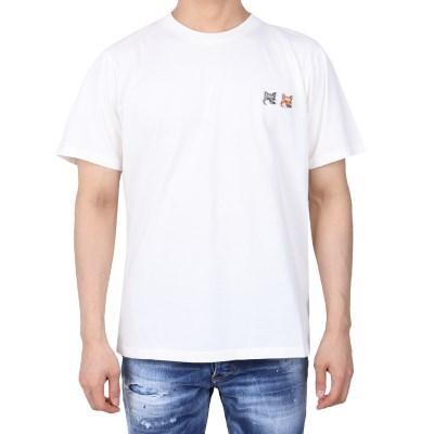 21FW 메종키츠네 더블 폭스헤드 패치 티셔츠 (남성/아이보리) BU0010