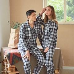7027 선염체크 긴소매 남여 커플잠옷