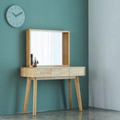 까르엠가구 고무나무 원목 수납형 화장대 거울포함