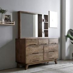 까르엠가구 로렌 고무나무 원목 3단 수납 화장대 세트 + 거울