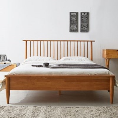 까르엠가구 마티니 고무나무 원목 평상형 침대 프레임 K