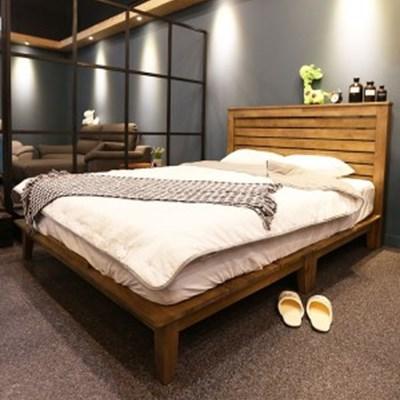 까르엠가구 루크 고무나무 원목 통깔판 평상형 침대프레임 SS