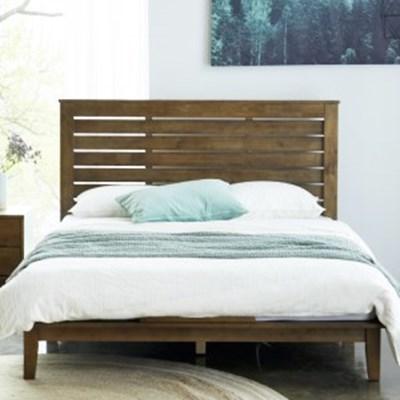 까르엠가구 루크 고무나무 원목 통깔판 평상형 침대 프레임 Q