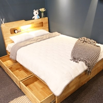 까르엠가구 루이스 LED 평상형 수납 침대 프레임 SS
