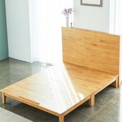 까르엠가구 글로리 고무나무 원목 평상형 침대 프레임 Q