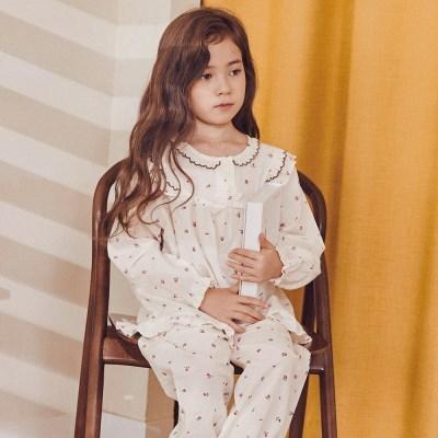 여자아이 파자마 쁘띠로즈 긴팔실내복 순면 플라워 공주 수면잠옷