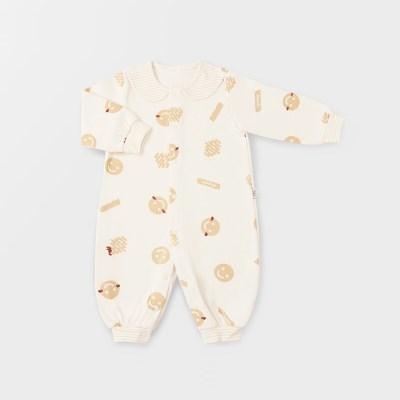 [메르베] 해쉬브라운 신생아 실내우주복/북유럽아기옷_겨울용