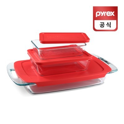 코렐 파이렉스 이지그랩 레드 베이크 디쉬 3p세트