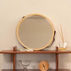 앤틱 디자인 카페 인테리어 스트랩 벽걸이 원형 거울