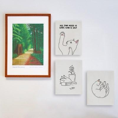 미니 포스터 / 패브릭 포스터_kitty/키티 드로잉 A (4종세트)