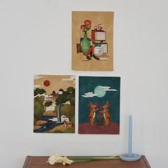 미니 포스터 / 패브릭 포스터_fork painting/민화 (4종세트)