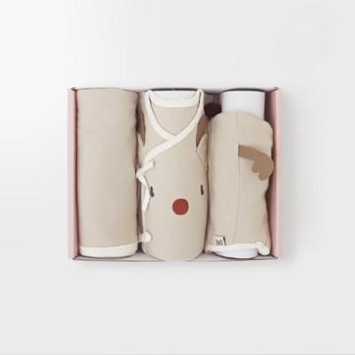 [메르베] 루돌프 출산선물세트(배냇저고리+속싸개+모자)_겨울용