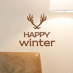 happy winter 사슴뿔 겨울 레터링 스티커
