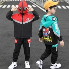 유아 아동 스파이더맨 집업 고글 후드 자켓 바지 세트 J