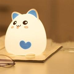 LED 실리콘 USB충전 고양이 무드등 취침등 블루