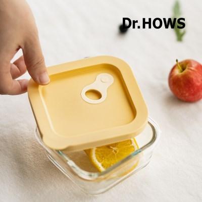 [닥터하우스] 모담 내열 유리용기 정사각 310ml 옐로우